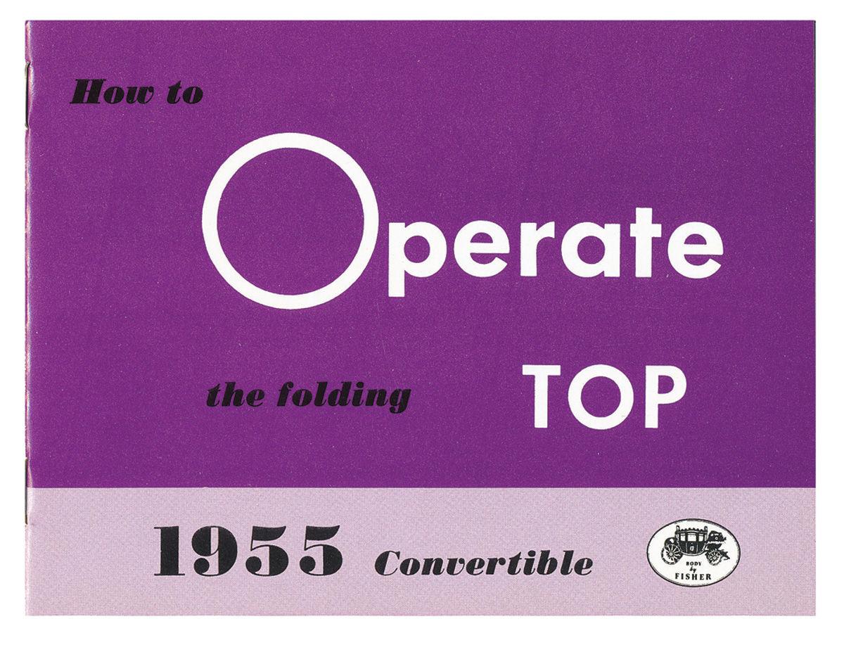 Manual, Convertible Top Operation, 1955 Cadillac