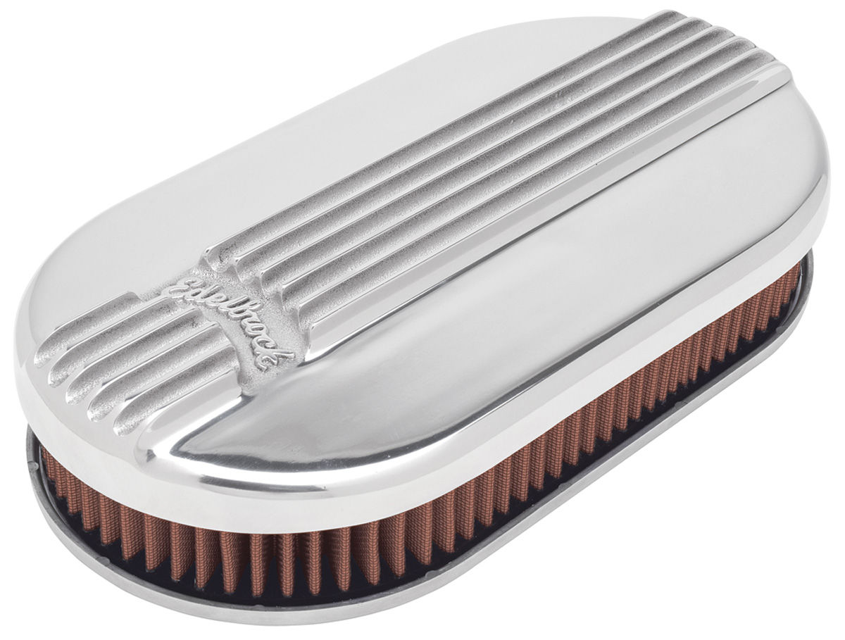 Air Cleaner, Edelbrock, Oval, Classic Series, 4BBL, Polished
