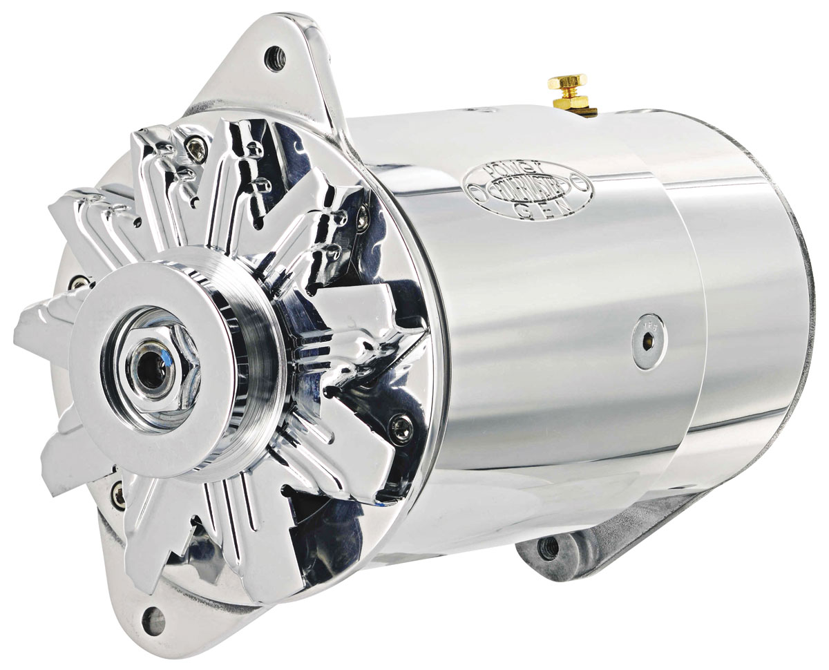 Alternator, PowerGen, 1954-62 GM Car, Polished, Long Housing, Standard