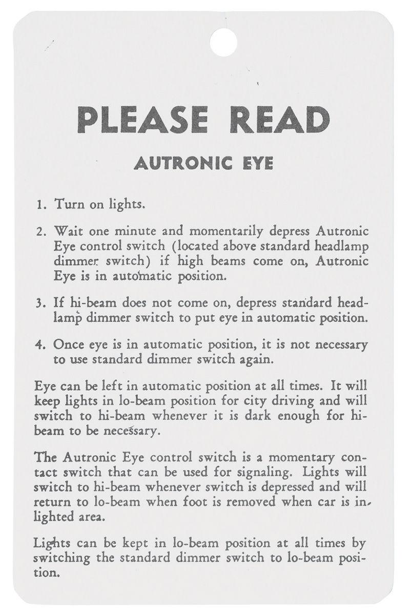 Tag, 57-59 Cadillac, Instruction, Autronic Eye