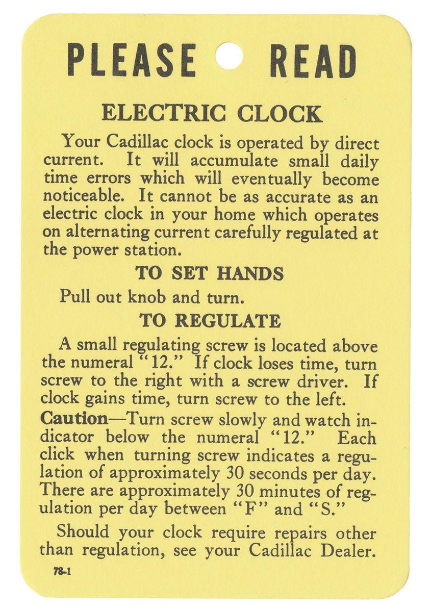 Tag, 54-59 Cadillac, Instruction, Electric Clock