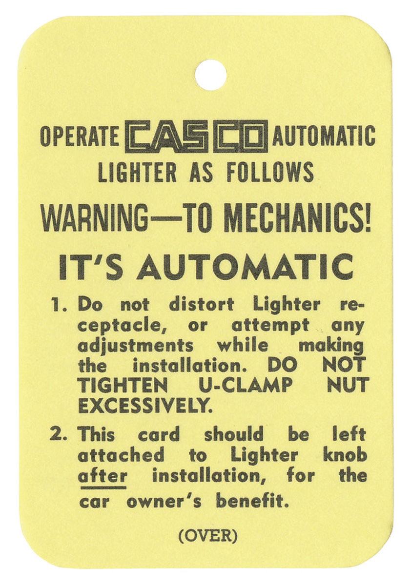 Tag, 54-57 Cadillac, Instruction, Casco Cigarette Lighter