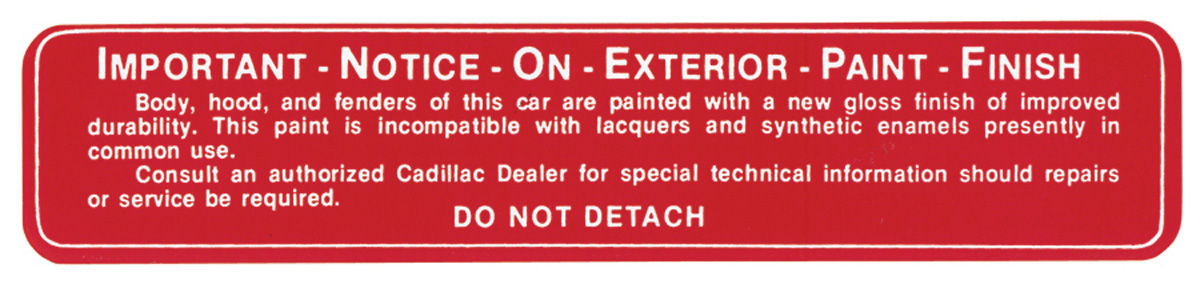 Decal, 58-59 Cadillac, Glove Box, Paint Notice