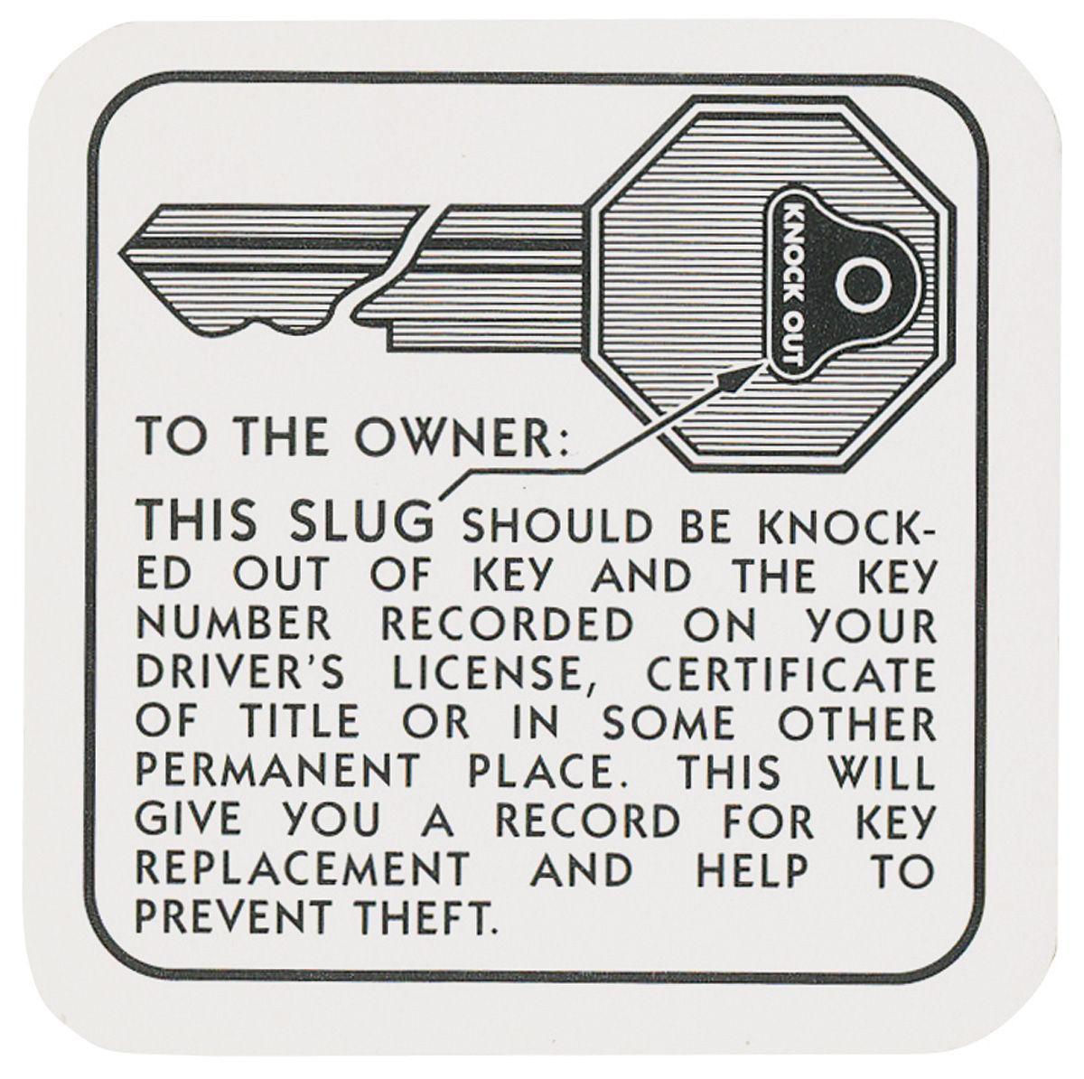 Decal, 54-55 Cadillac, Glove Box, Key Knockout Instruction