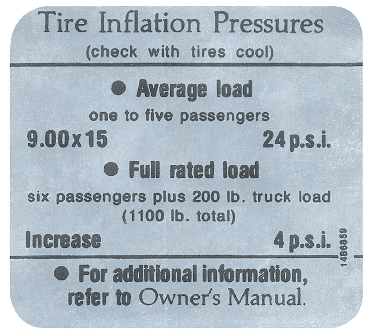 Decal, 66 Cadillac, Door Jamb, Tire Pressure