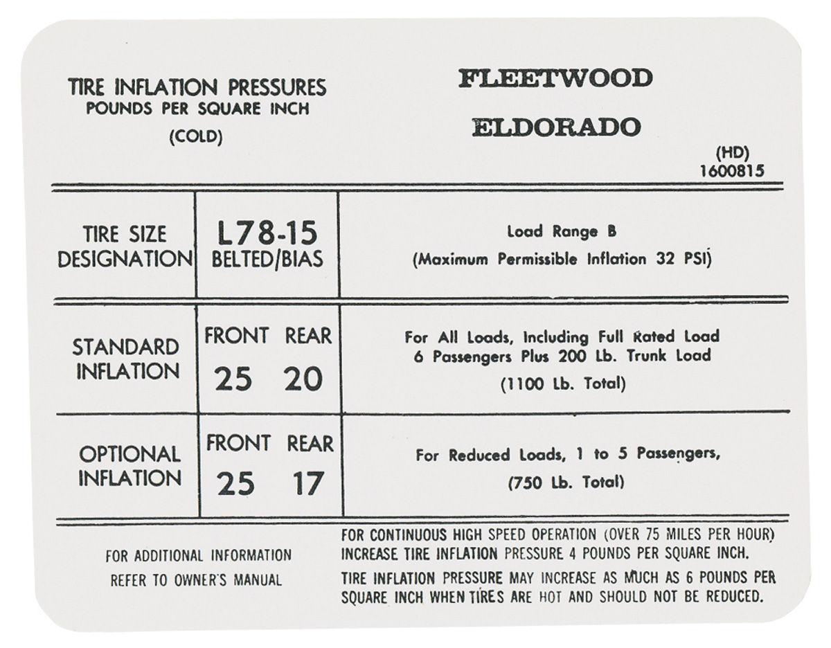 Decal, 72 Cadillac, Eldorado, Door Jamb, Tire Pressure