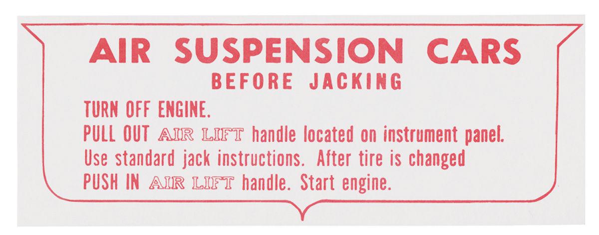 Decal, 57-60 Cadillac, Jacking Instruction, Warning, Air Suspension
