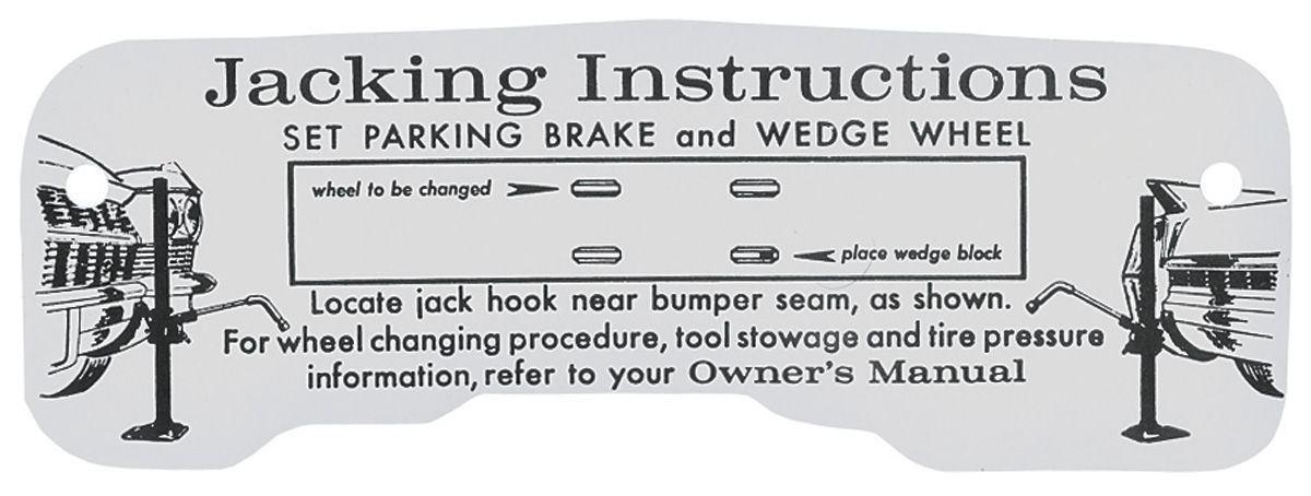 Decal, 64 Cadillac, Trunk, Jacking Instruction