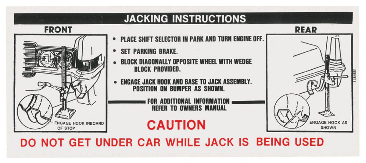 Decal, 69 Cadillac, Trunk, Jacking Instruction