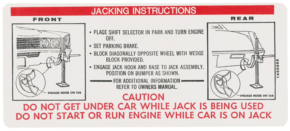 Decal, 70 Cadillac, Trunk, Jacking Instruction, Eldorado