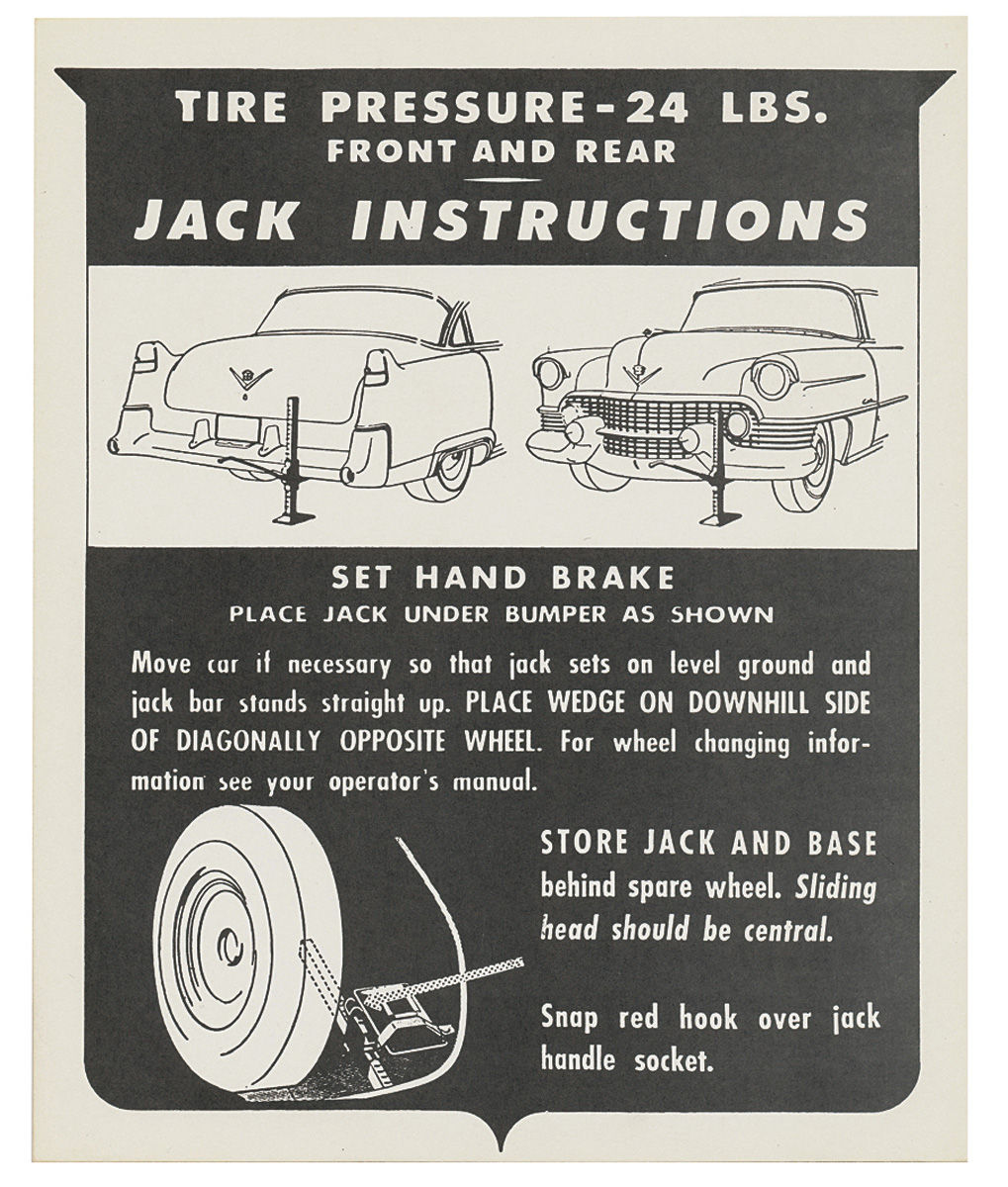 Decal, 54 Cadillac, Trunk, Jack Instruction
