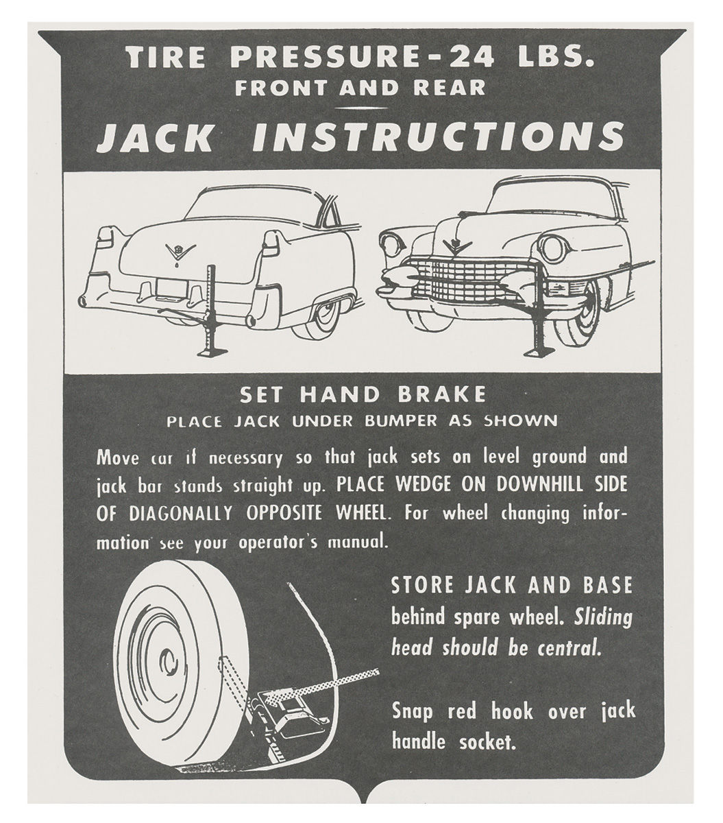 Decal, 55 Cadillac, Trunk, Jack Instruction