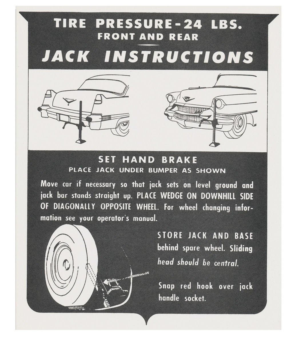 Decal, 56 Cadillac, Trunk, Jacking Instruction