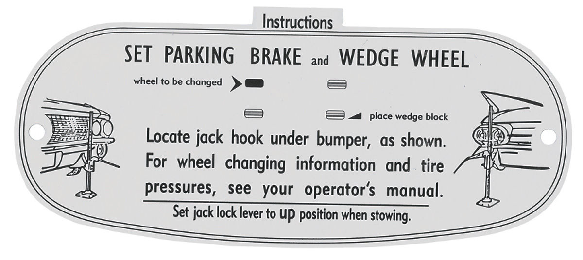 Decal, 61 Cadillac, Trunk, Jacking Instruction