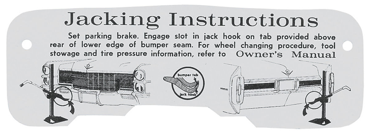 Decal, 65 Cadillac, Trunk, Jacking Instruction