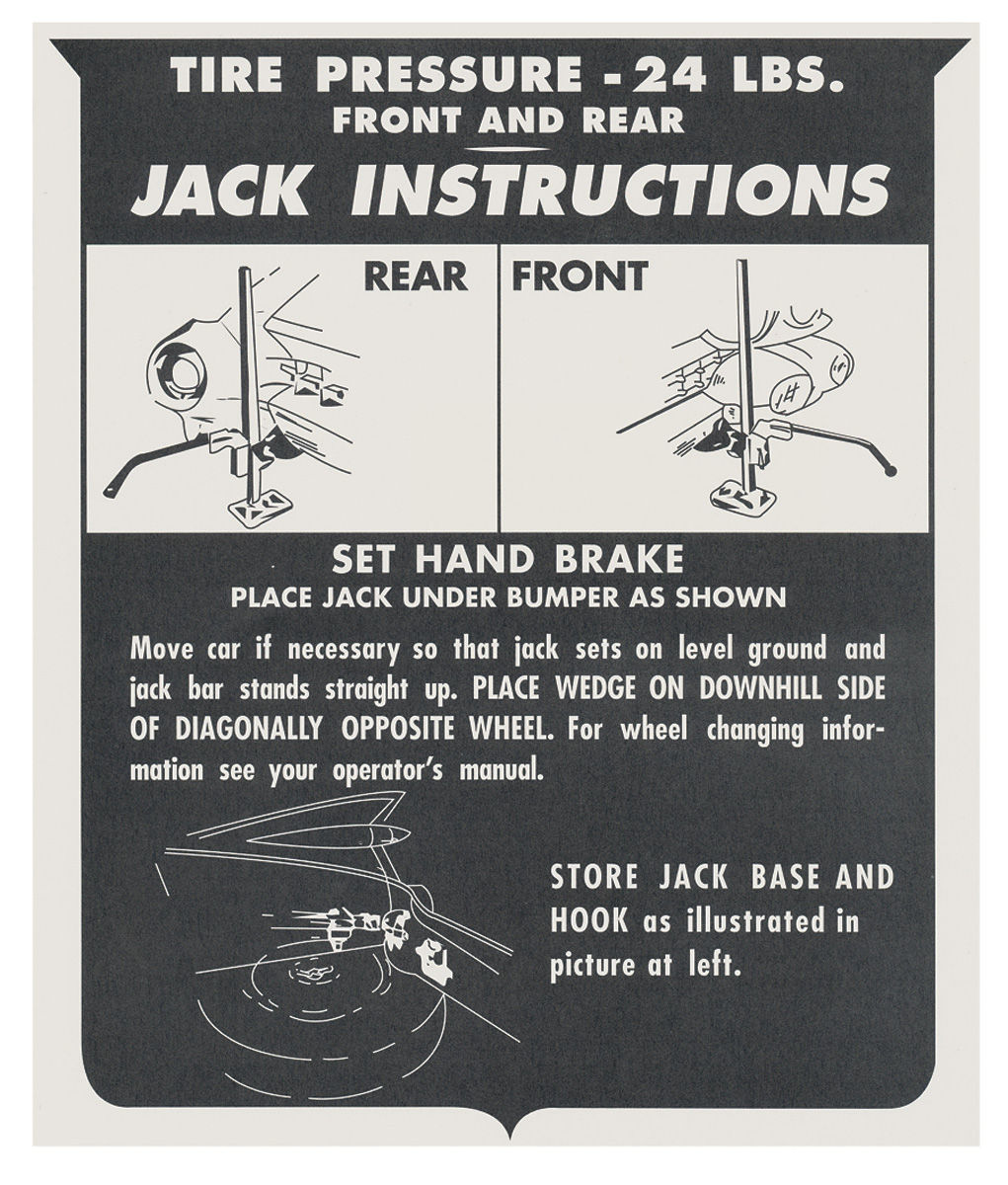 Decal, 59-60 Cadillac, Trunk, Jacking Instruction