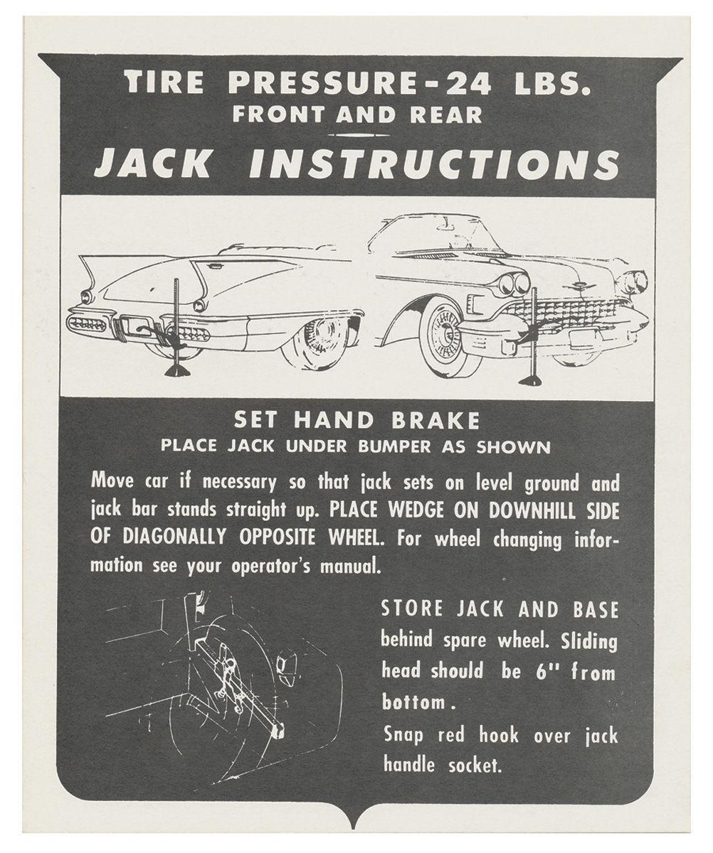 Decal, 58 Cadillac, Trunk, Jack Instruction, Biarritz