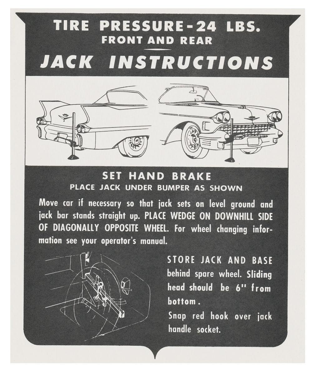 Decal, 58 Cadillac, Trunk, Jack Instruction, exc. Biarritz