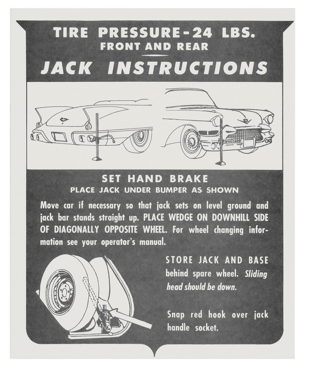 Decal, 57 Cadillac, Trunk, Jack Instruction, Biarritz