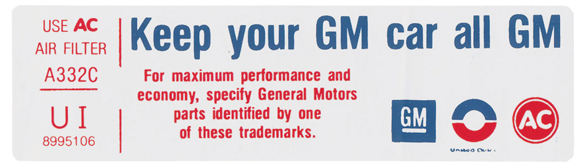 Decal, 75 Cadillac,  Air Cleaner, Keep Your GM Car All GM, VI, 8995106