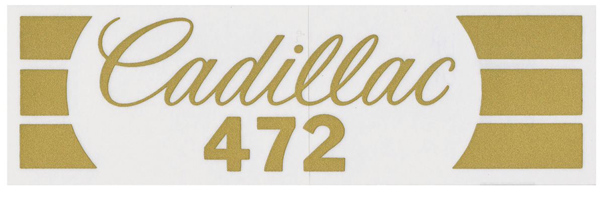 "Decal, 1968-74 Cadillac, Air Cleaner, Snorkel, ""Cadillac 472"""