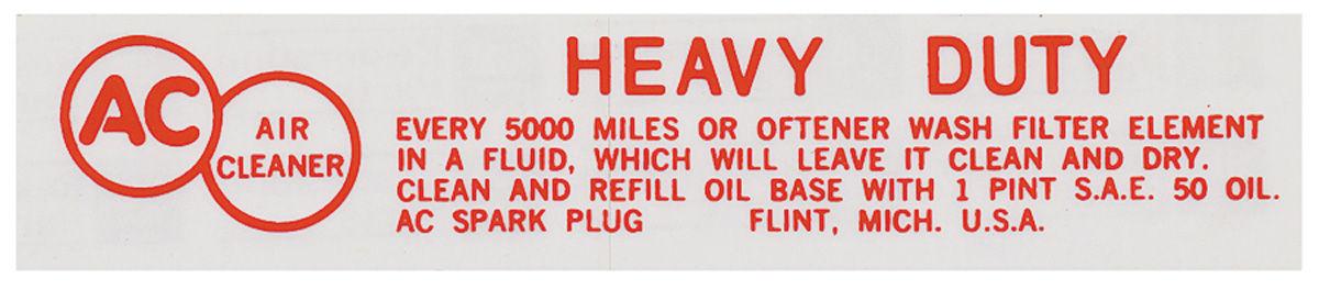 Decal, 56-57 Cadillac, Air Cleaner, Oil Bath Service