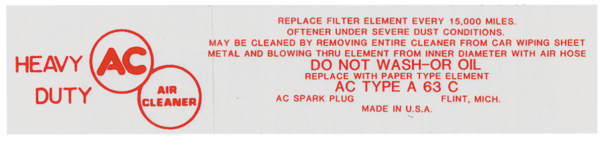 Decal, 58 Cadillac, Air Cleaner, Service, 4-BBL, A63C