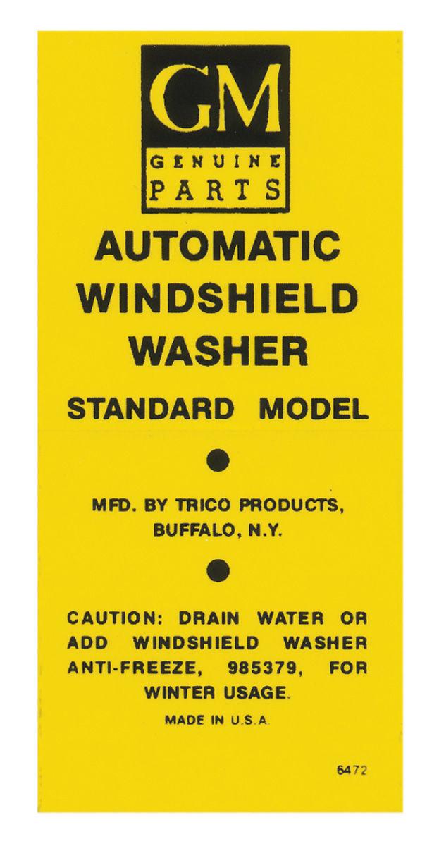 Decal, 56-60 Cadillac Pontiac, Bracket, Washer Bottle