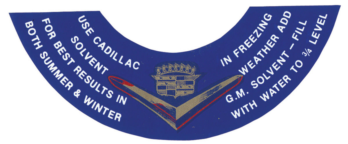 Decal, 54-61 Cadillac, Lid, Washer Bottle