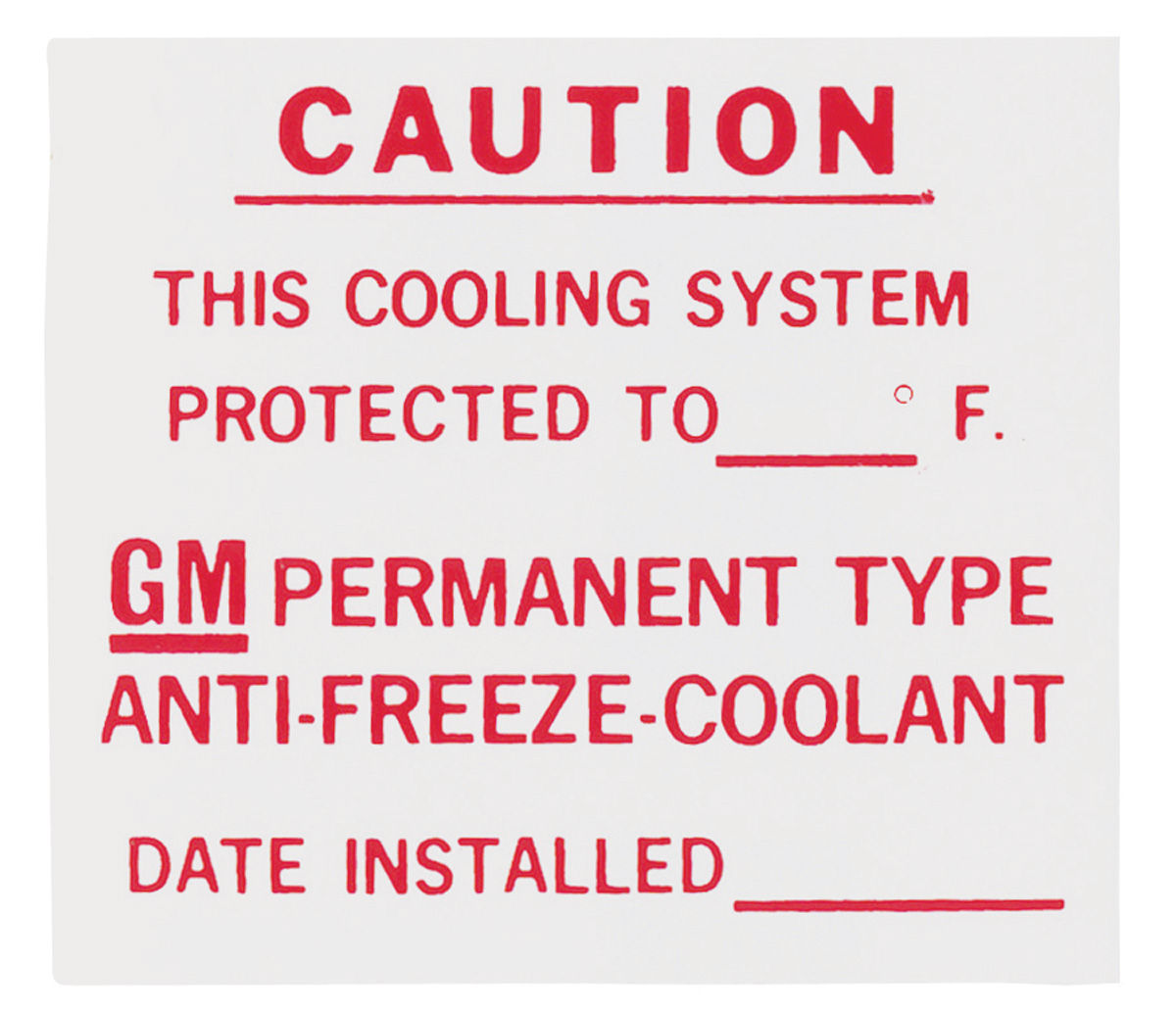 Decal, 65-75 Cadillac, Dealer Installed Anti-Freeze