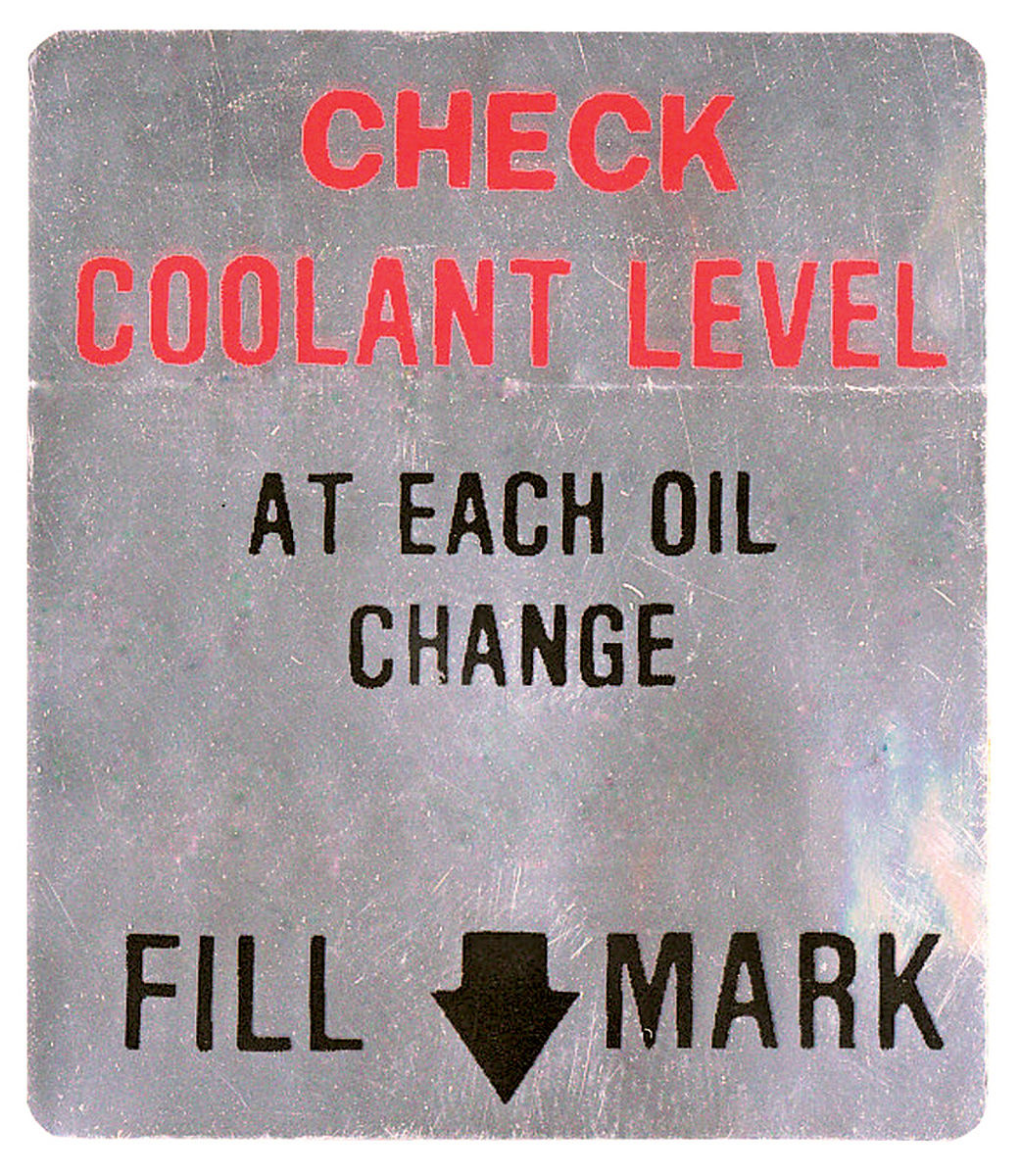 Decal, 66-67 Cadillac, Caution, Coolant Level, Fan