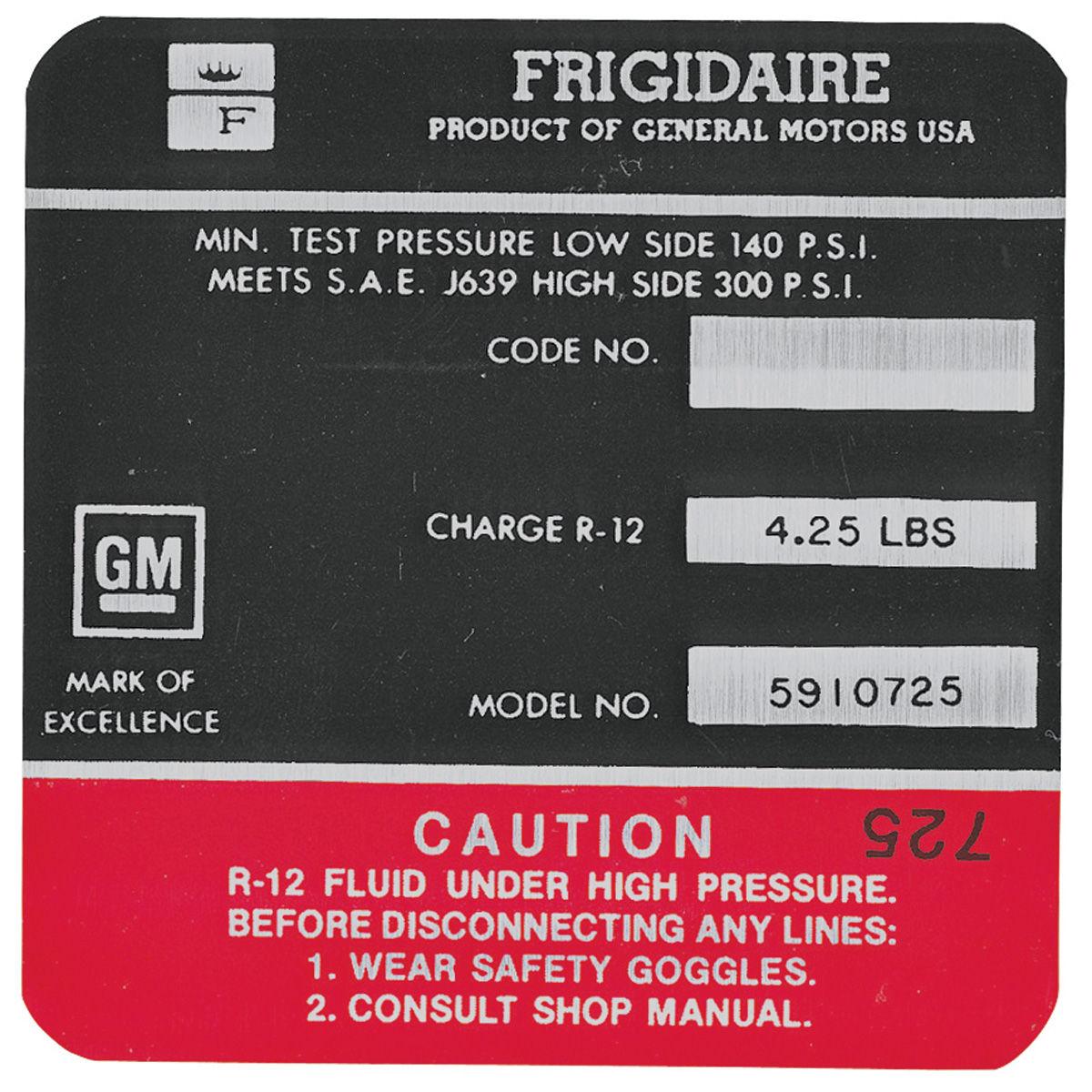 Decal, AC Compressor, 1968 Cadillac, Frigidaire, Red