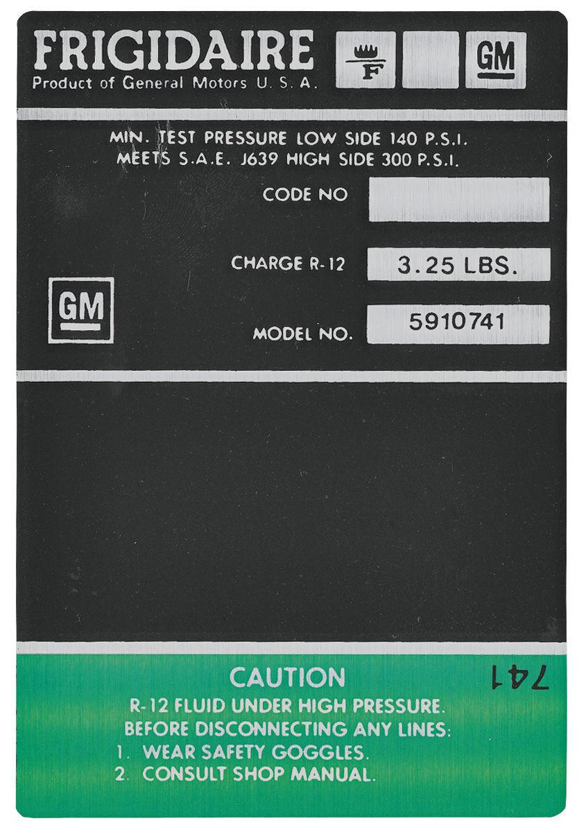Decal, AC Compressor, 1969-71 Cadillac, Frigidaire, Green