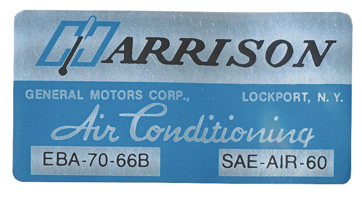 Decal, 66 Cadillac, Pontiac, Evaporator Box, Harrison Air Conditioning, EBA7066B