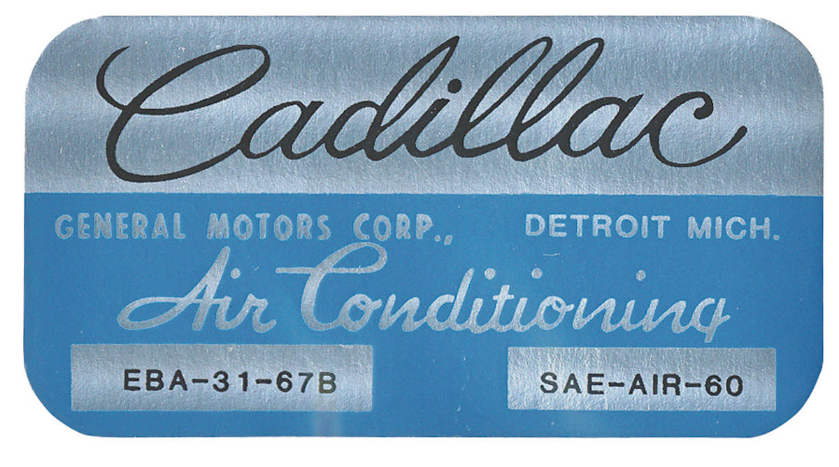 Decal, 67-70 Cadillac, Evaporator Box, Harrison Air Conditioning, EBA3167B