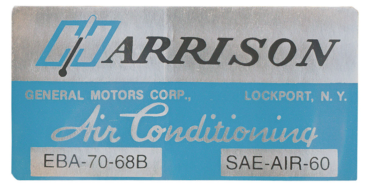 Decal, 68 Cadillac, Pontiac, Evaporator Box, Harrison Air Conditioning, EBA7068B