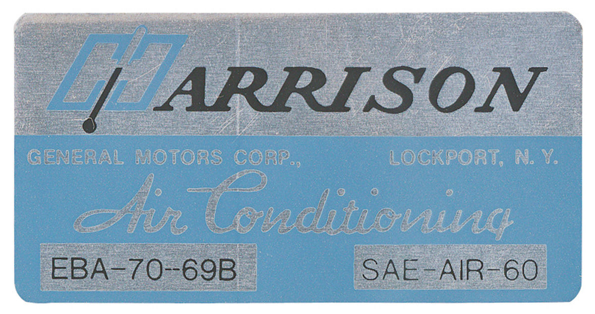 Decal, 69 Cadillac, Pontiac, Evaporator Box, Harrison Air Conditioning, EBA7069B