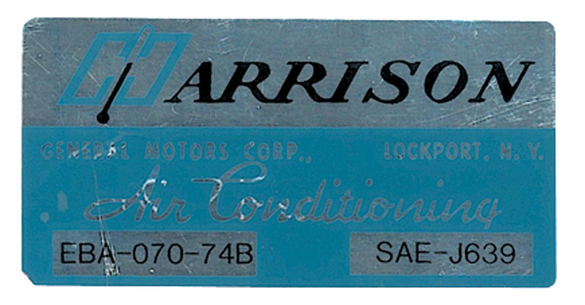 Decal, 74 GM, Evaporator Box, Harrison Air Conditioning, EBA7074B  ce05291
