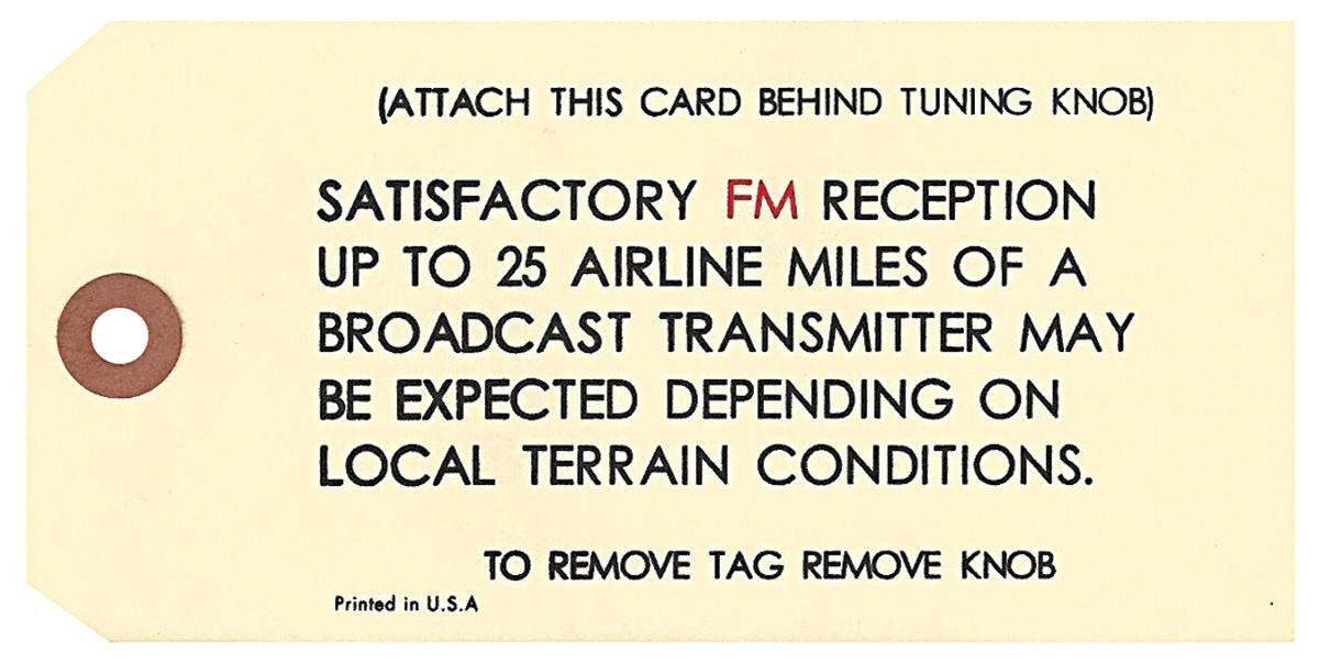 Tag, 1966-68 GM, Interior, AM/FM Radio Antenna