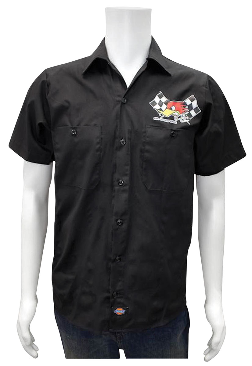 Shirt, Shop, Mr. Horsepower and Flag, Black