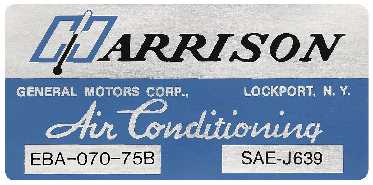Decal, 75 GM, Evaporator Box, Harrison Air Conditioning, EBA7075B