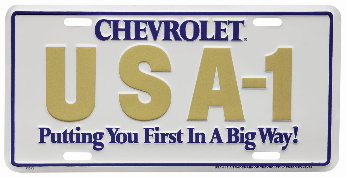 License Plate, USA-1, Gold/White