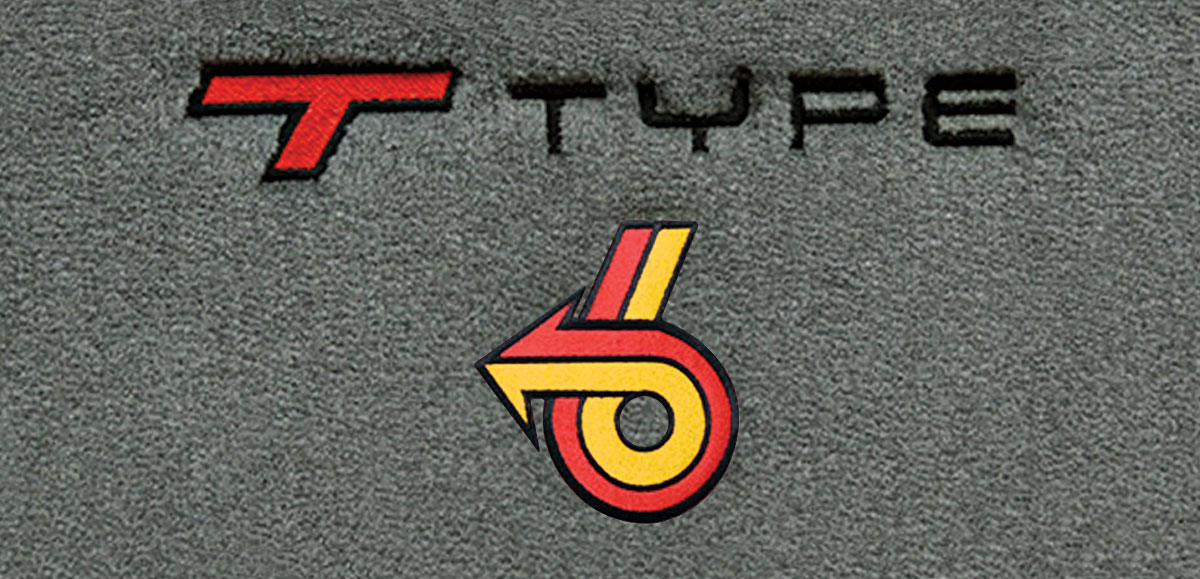 Floor Mats, Cutpile, 1982-87 Buick G-Body, TType Logo w/ Red/Yellow, Blk Outline