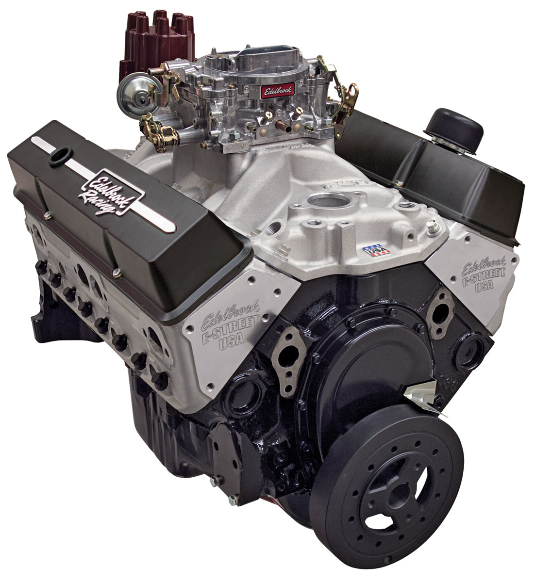Crate Engine, E-Street 315HP Carbureted, Edelbrock, Chevrolet 350, Satin