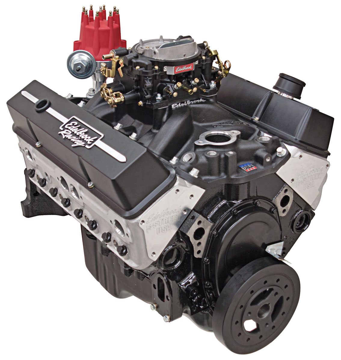 Crate Engine, E-Street 315HP Carbureted, Edelbrock, Chevrolet 350, Black