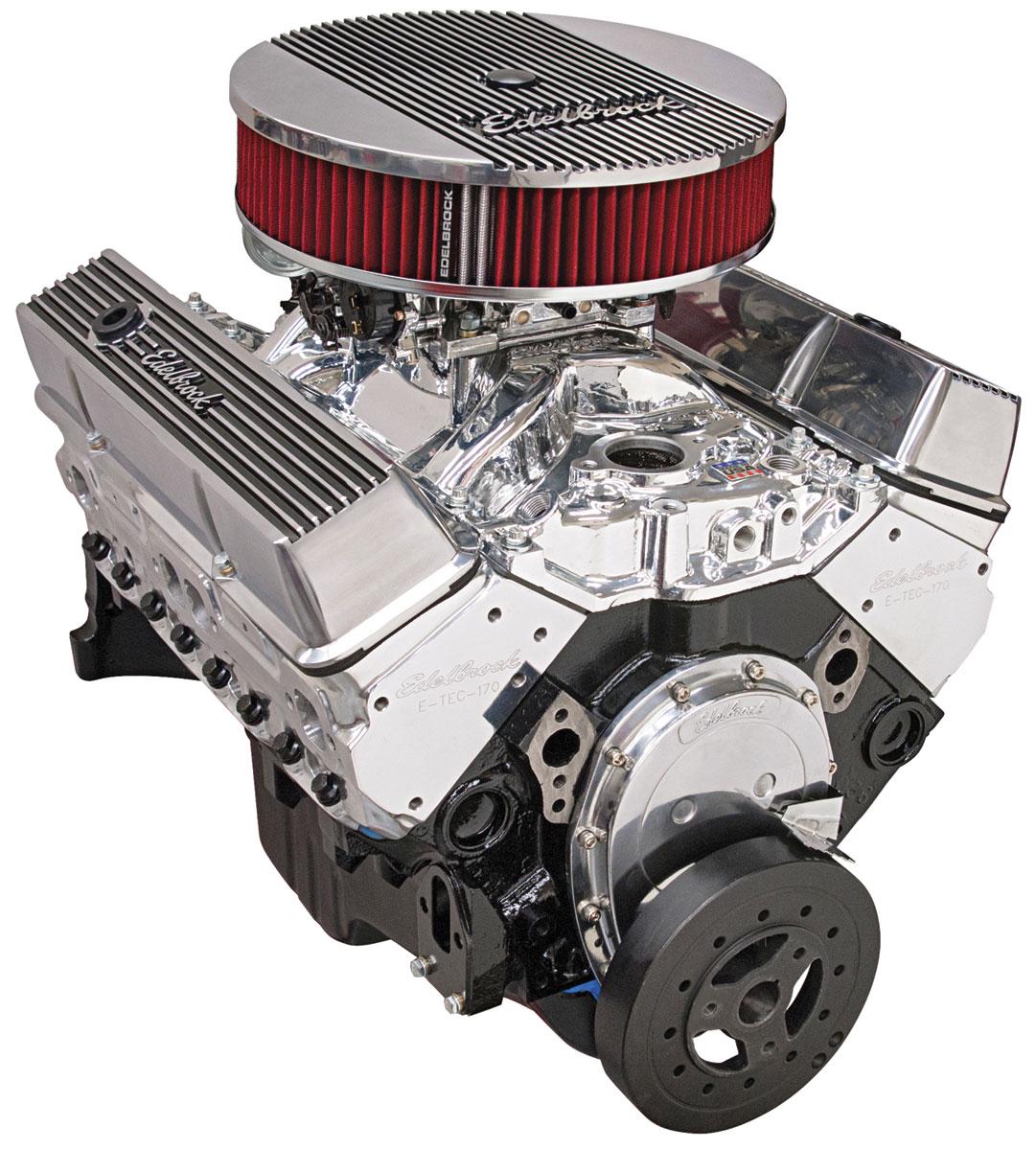 Crate Engine, Performer Hi-Torq, Edelbrock, Chevy 350, w/o Wtr Pmp, EnduraShine