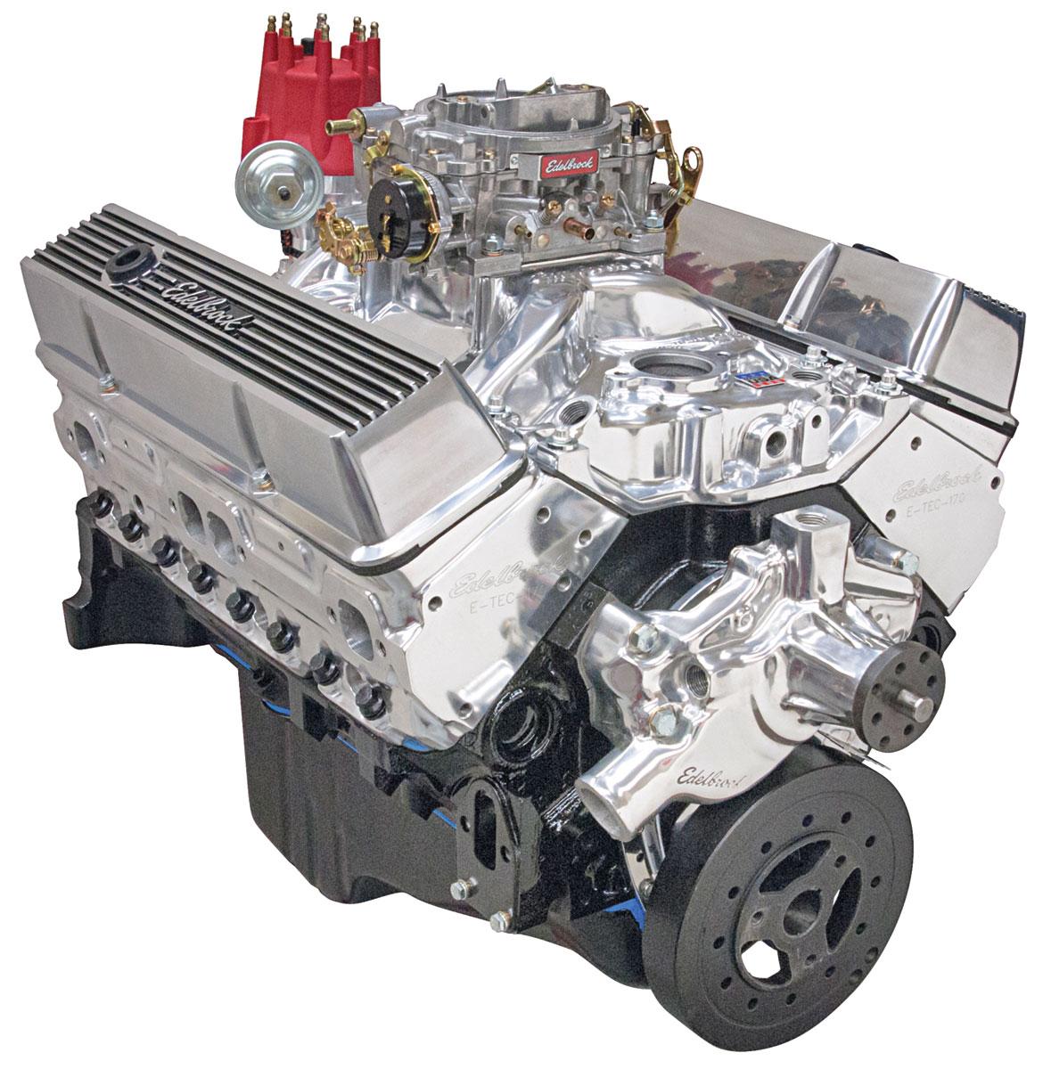 Crate Engine, Performer Hi-Torq, Edelbrock, Chevy 350, Short Wtr Pmp, Polished