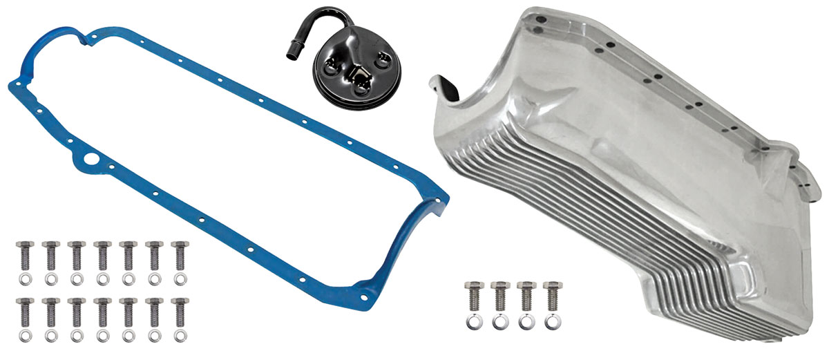 Oil Pan, Finned Cast Aluminum, Weiand, 1958-79 Small Block Chevrolet, Kit