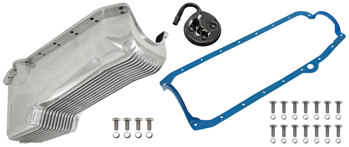 Oil Pan, Finned Cast Aluminum, Weiand, 1980-85 Small Block Chevrolet, Kit