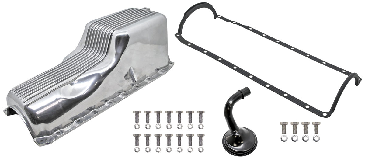 Oil Pan, Finned Cast Aluminum, Weiand, 1991-Up Big Block Chevrolet, Kit